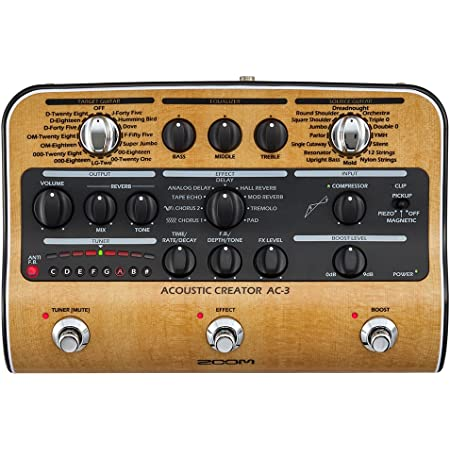 Zoom AC-3 Acoustic Creator, Acoustic DI with Tone Restoration, Acoustic Modeling, 9 effects, Compression, Tuner, Reverb, EQ, and Anti-Feedback