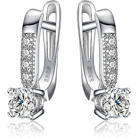 JewelryPalace Pendientes Colgantes Con 1ct Zirconia cúbica Plata de ley 925