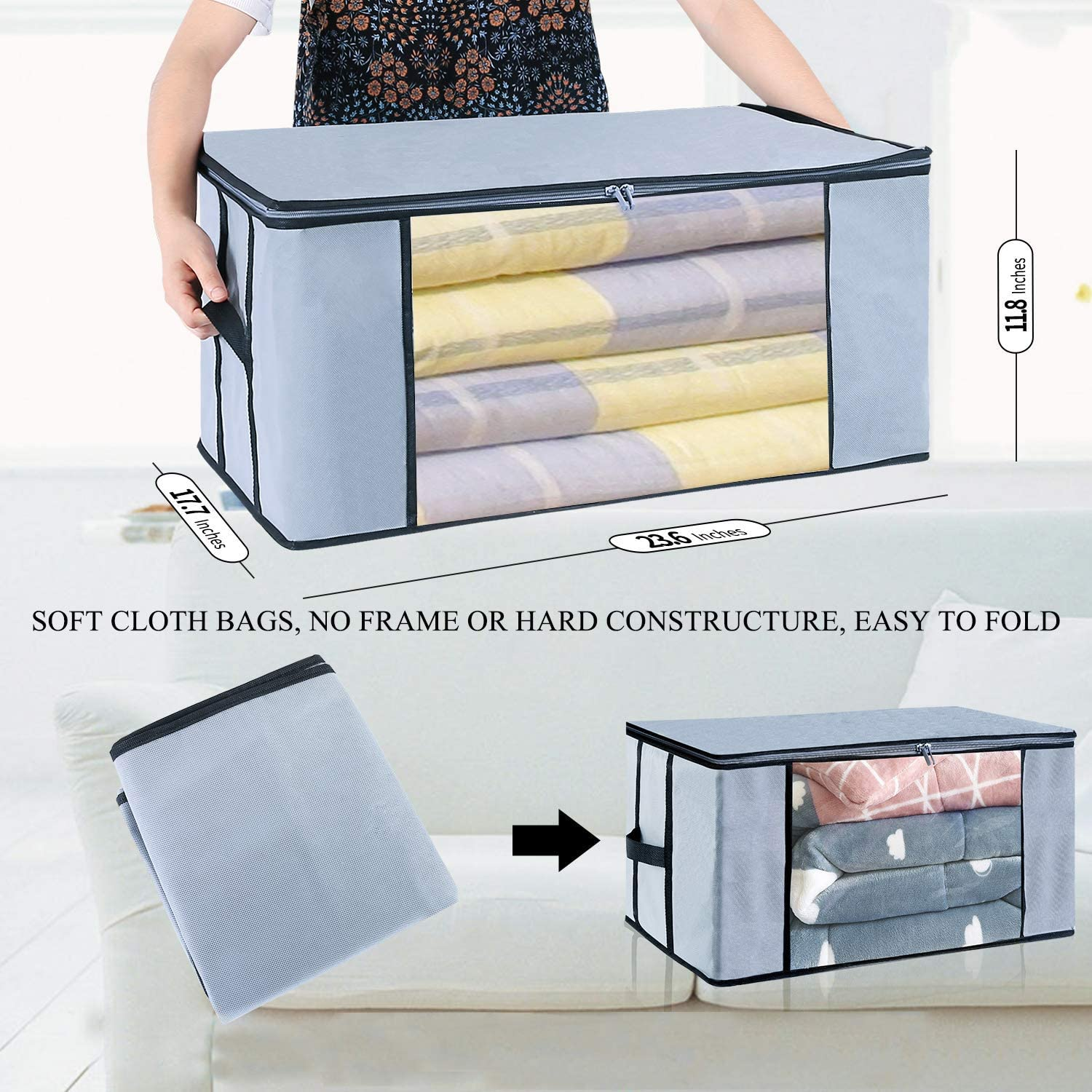 Foldable Clothes Storage Organizer Containers Bags Breathable Material Closet Organization with Clear Window Pack of 3 Seckon Zippered Storage Bags Jumbo Size