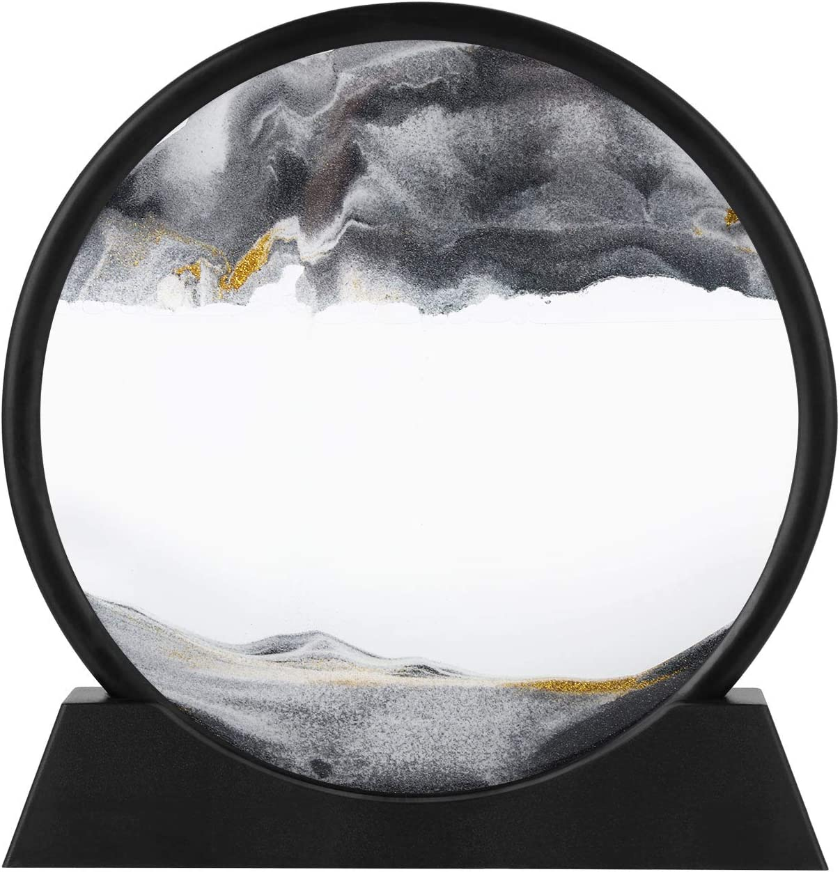 12inch Moving Sand Art Picture,3D Deep Sea Sandscape in Motion Display Flowing Sand Frame Flowing,Round Glass Grit Photo Hourglass (Black, 12inch)
