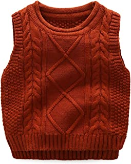 1a9aafc3fa4e1 Anbaby Little Boy's Knit Sweater Vest Kids Round Neck Students Pullover