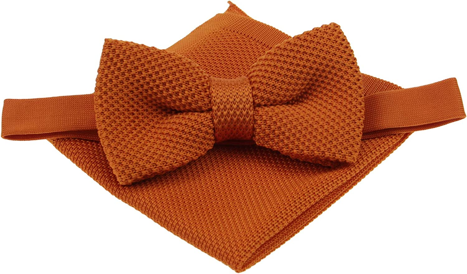 Mens OFFer Plain Finally resale start Knitted Bowtie and Color Pocket Set-Various Square