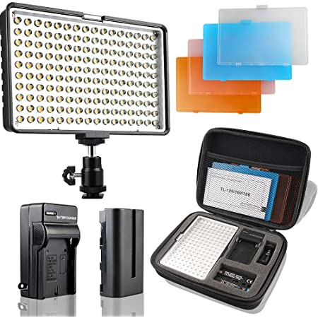Samtian Camera Panel Light Led Dimmable Ultra Bright Video Light Portable Photography Light Kit With 4 Color Filters Battery Charger Carry Case For Dslr Cameras Camcorder Camera Photo