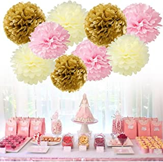 "Tissue Paper Pom Pom Flowers Baby Shower Birthday Wedding Party Decorations 12 pcs Hanging Pom Poms,8"" 10"" Gold Pink Beige"