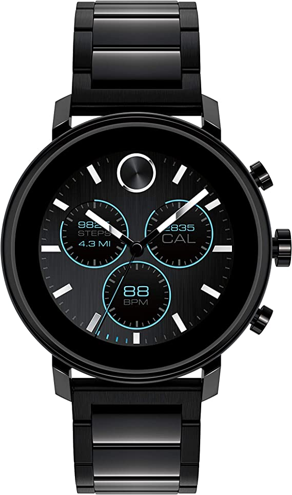 Movado Connect 2.0 Unisex Powered with Wear OS by Google Stainless Steel and Ionic Plated Black Steel Smartwatch