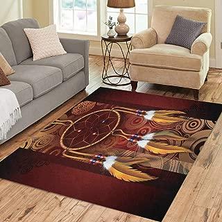 Pinbeam Area Rug Dreamcatcher Native American Dark Brown Burgundy Circles Home Decor Floor Rug 5' x 7' Carpet