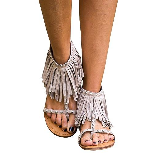 7b646e121 Syktkmx Womens Fringe Tassel Flat Thong Rivet Strappy Ankle Wrap Summer  Dress Sandals