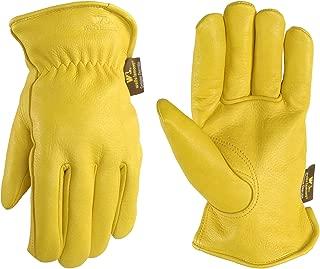 Men's Deerskin Winter Work Gloves,100-gram Thinsulate Insulation, Fleece-Lined, Medium (Wells Lamont 963M)