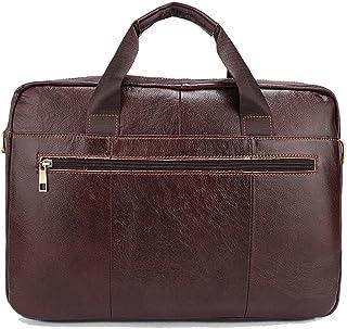 Men's Accessories 14-inch Laptop Shoulder Handbag,Retro Style Leather Briefcase Brown for Men Business Messenger Tote Bag Outdoor Recreation