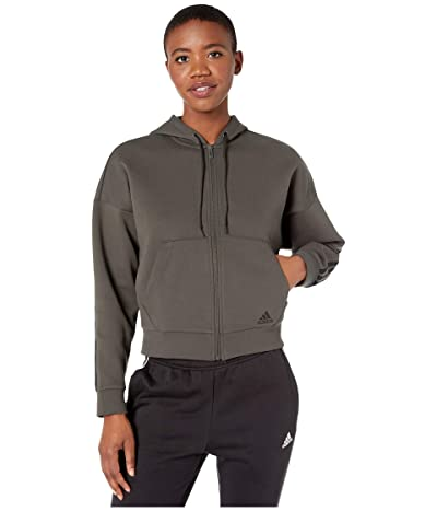 adidas Must Have Double Knit Full Zip Hoodie (Legend Earth/Black) Women