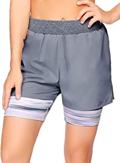 COOrun Womens Athletic Shorts Double Layer Running Shorts Active Yoga Gym Sport Shorts