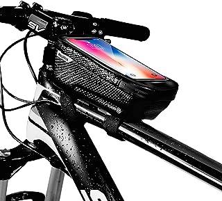Niluoya Bolsa de Movil Bicicleta Manillar, Soporte Impermeable Accesorios Bicletas Porta Bike Montaña Frame Bag, Táctil de...