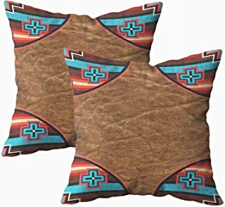 Musesh Pack of 2 tribal print southwest western trim 7000 outdoor Cushions Case Throw Pillow Cover For Sofa Home Decorative Pillowslip Gift Ideas Household Pillowcase Zippered Pillow Covers 16x16Inch