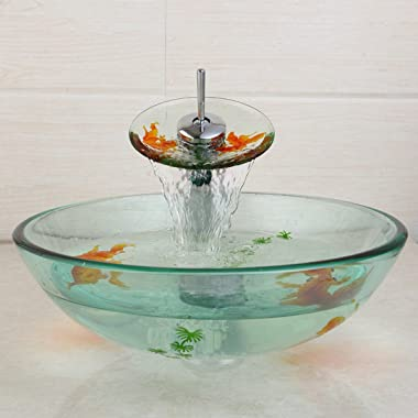 Tempered Glass Vessel Sink Bathroom Fish Painting With Drain Vanity Basin Bowl Mixer Faucet Set