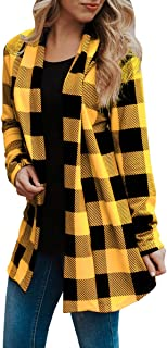 Womens Buffalo Plaid Cardigans Long Sleeve Elbow Patch Draped Open Front Cardigan Shirt