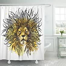 SPXUBZ Watercolor Lion Animal Head for Anti Stress Coloring Page Ethnic for Tattoo Tee Shower Curtain Waterproof Bathroom Decor Polyester Fabric Curtain Sets with Hooks