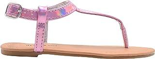 dELiAs Girls Fashion Sandals Holographic Slingback T Strap Flats
