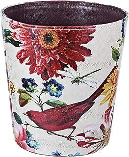 HMANE 10L/2.64 Gallon PU Leather Trash Can Waterproof Decorative Paper Basket Natural Scenery Theme - (Red Bird)