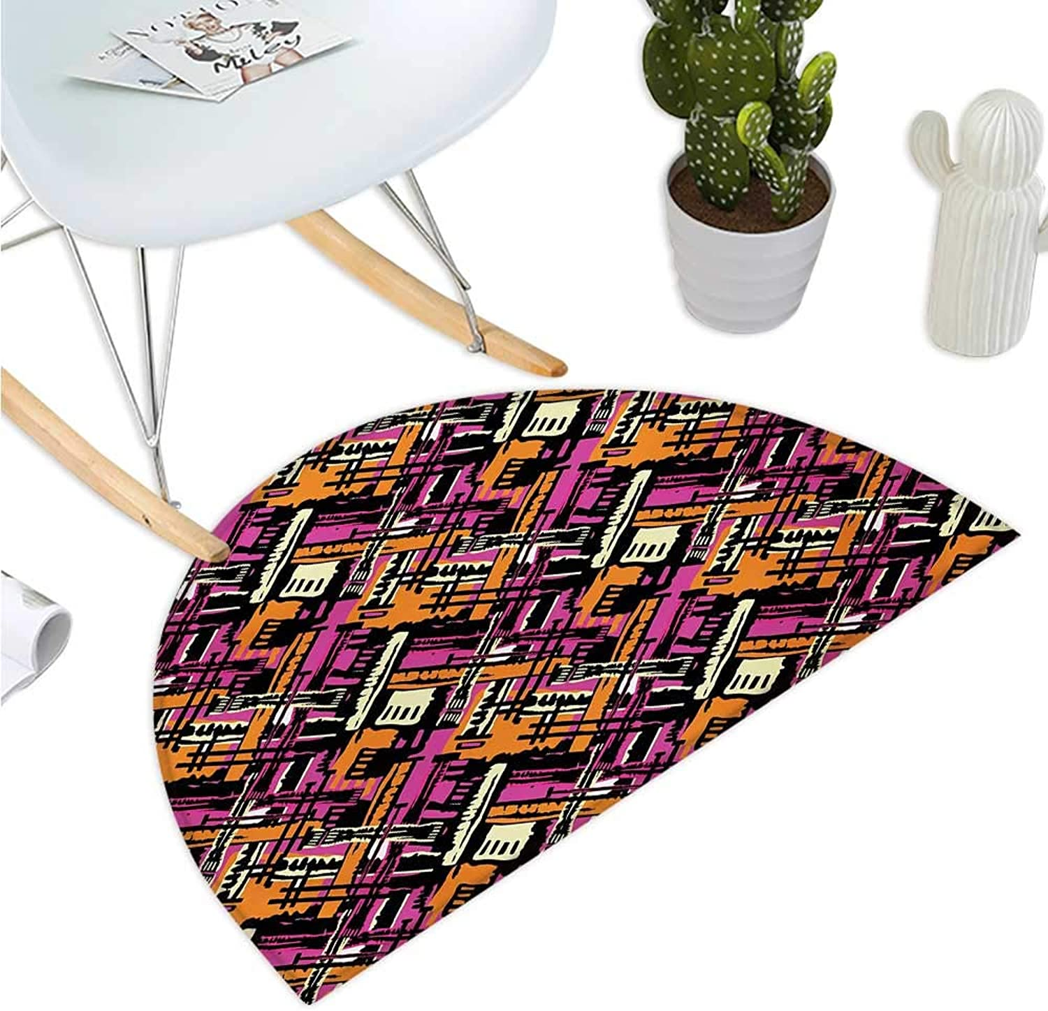 Grunge Half Round Door mats Modern Pattern with Artistic Creativity Theme Hand Painted Style Lines Vivid colors Bathroom Mat H 43.3  xD 64.9  Multicolor