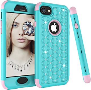 iPhone 8 Case, iPhone 7 Case, SUMOON 3 in 1 [Studded Rhinestone][Full-Body Protective] [Shockproof] Hard PC+ Soft Silicon Rubber Armor Defender Protective Case Cover for iPhone 8/7 (Mint+Pink)