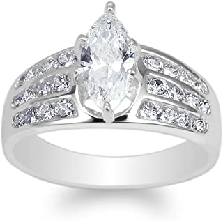 JamesJenny Womens 925 Sterling Silver 0.7ct Marquise CZ Beautiful Channel Ring Size 4-10