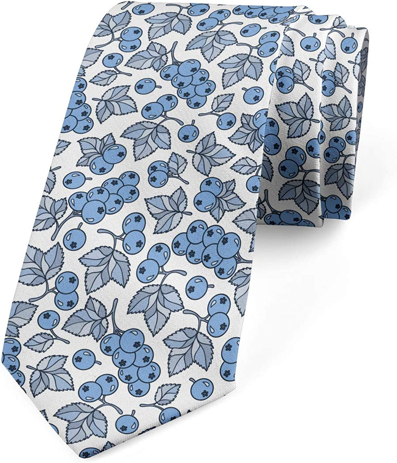 Ambesonne Botanical Necktie, Blueberry Branches and Leaves Growth Summer Forest Flourish Fruits, 3.7