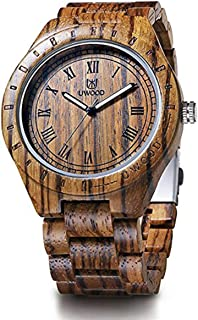 Wooden Watch,MUJUZE Luminous Pointer Japan Quartz Movement Zebra Wood Watch For Men