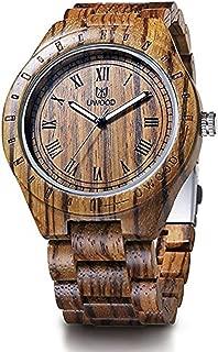 Wooden Watch,MUJUZE Luminous Pointer Japan Quartz Movement Zebra Wood Watch For Men