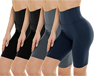 4 Pack Biker Shorts for Women - High Waist Tummy Control Workout Shorts for Yoga Running Athletic