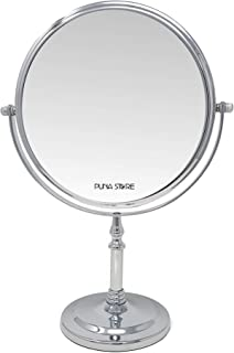 Puna Store 5X Magnifying Two Side Tabletop Vanity Cosmetic Mirror, 8 Inches (Silver)