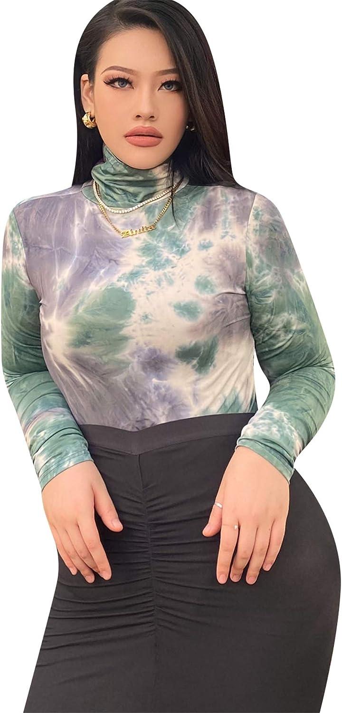 EFOFEI Womens Sexy Summer Bodysuit Tie Dye Jumpsuit Turtle Neck Solid Color Leotard Top Plus Size