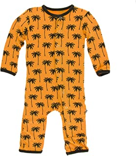KicKee Pants Bamboo Print Coverall with Snaps (Apricot Palm Trees - 9-12 Months)
