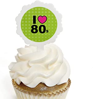 80's Retro - Cupcake Picks with Stickers - Totally 1980s Party Cupcake Toppers - 12 Count