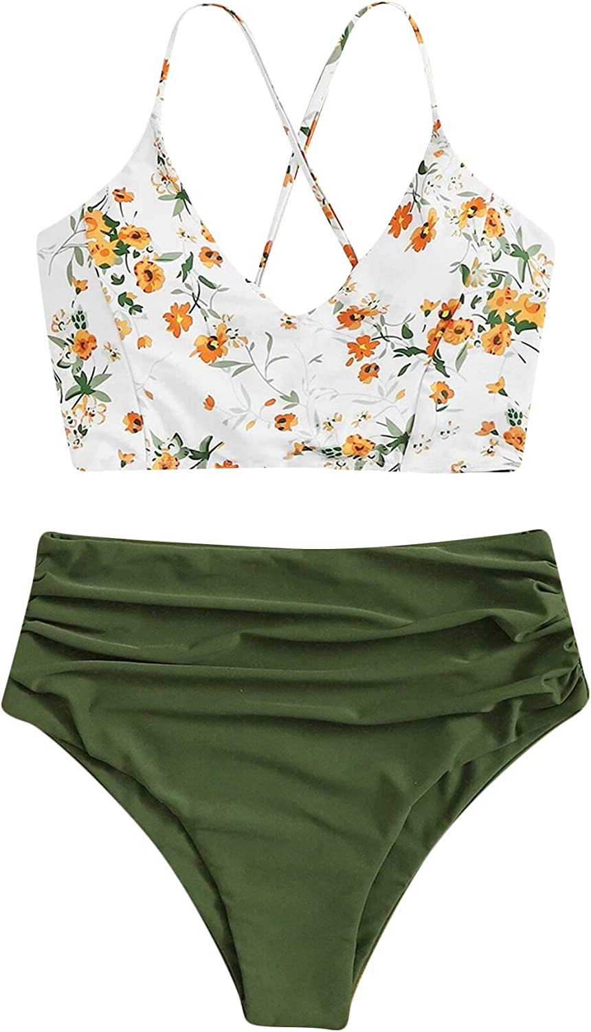 SOLY HUX Women's Plus Size Floral Print Ruched High Waisted Bikini Bathing Suits 2 Piece Swimsuits