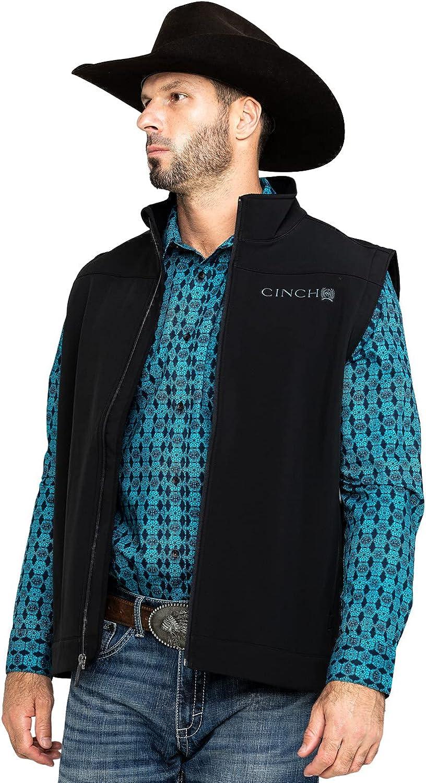 Cinch Men's Bonded Softshell Zip Vest Big Black XXX-Large