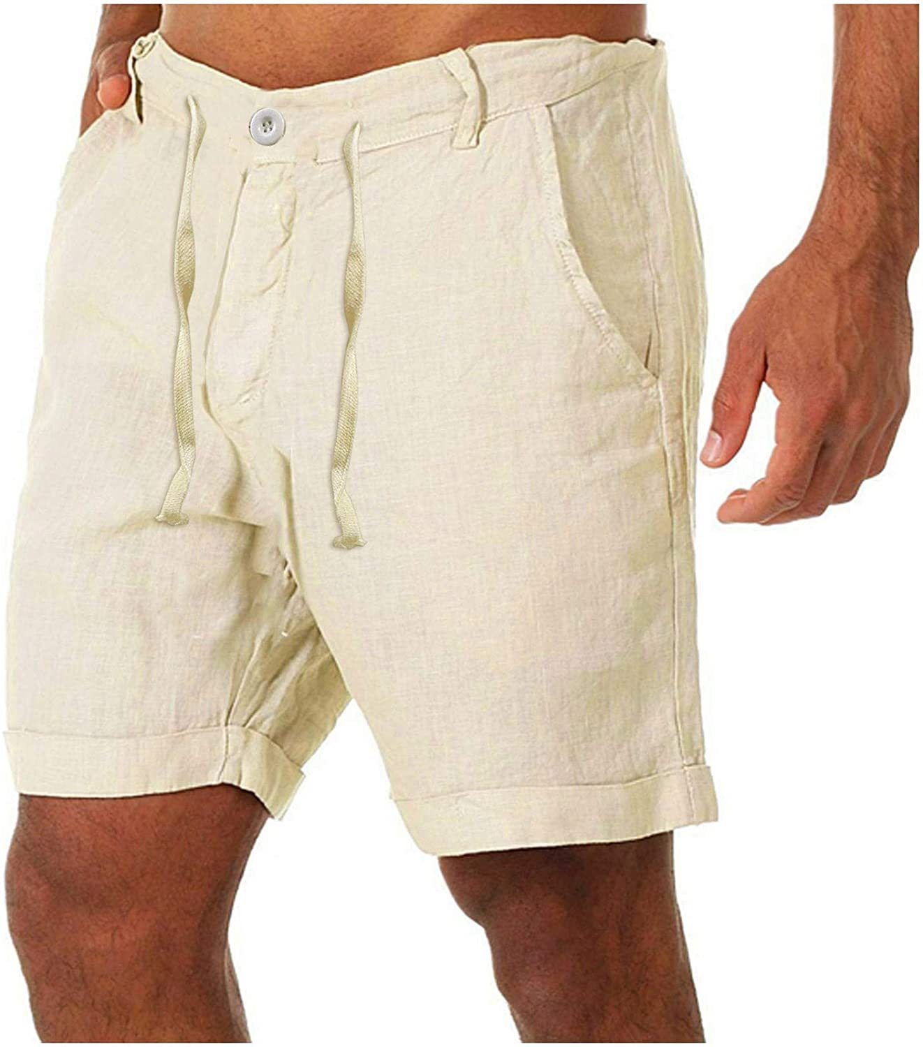 Burband Mens Casual Linen Shorts Summer Beach Shorts 11 Inch Inseam Loose Fit Elastic Waist Pants with Drawstring and Button