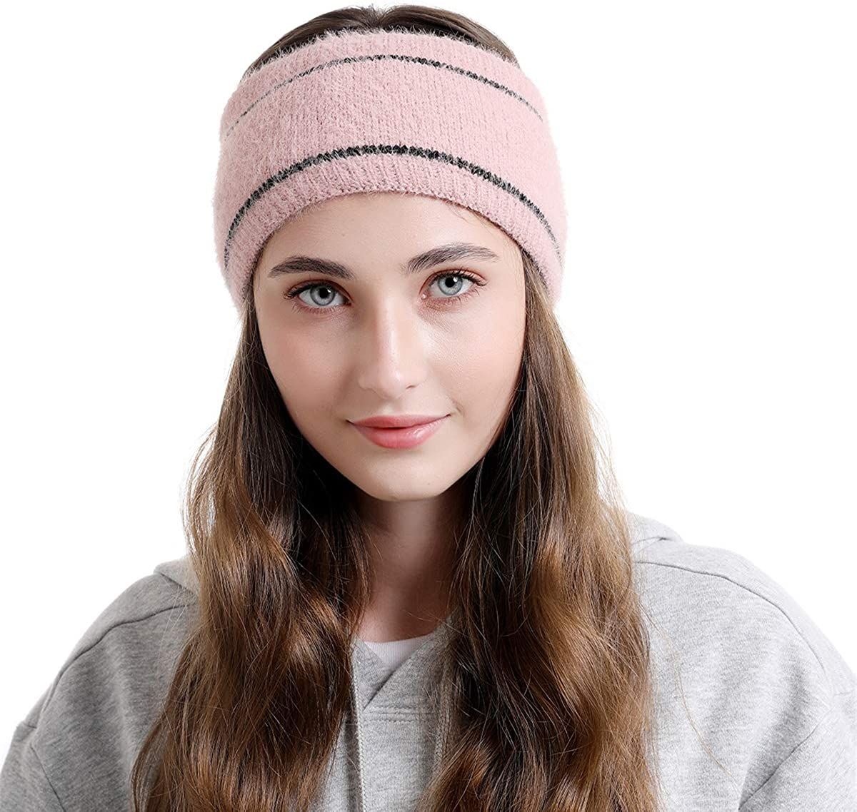 Winter Warm Headband for Women,Ear Warmers,Warm Inside Plush Cable Knitted Hair Band,Cold Weather Hair Accessories Gift
