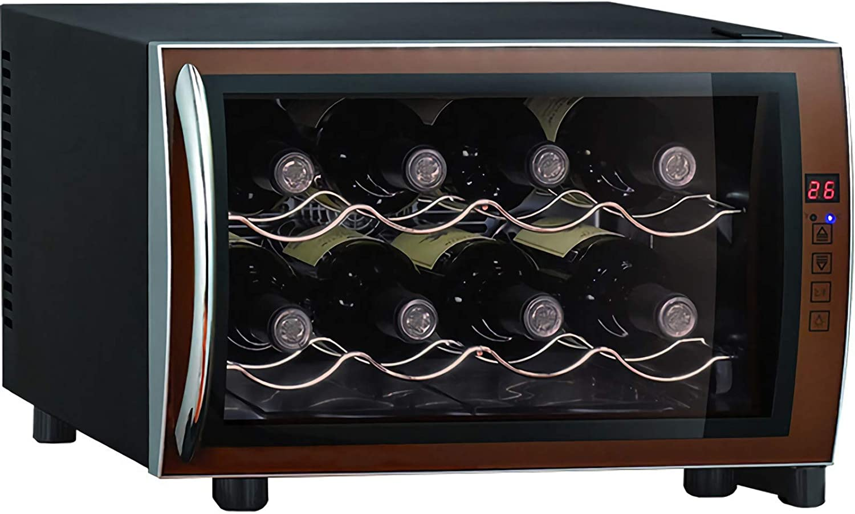 LLZH Mini Vinoteca, Nevera Termoeléctrico para Bodega de Vino de Encimera Pequeña, 8 Botellas, para Dormitorio, Oficina, Cocina