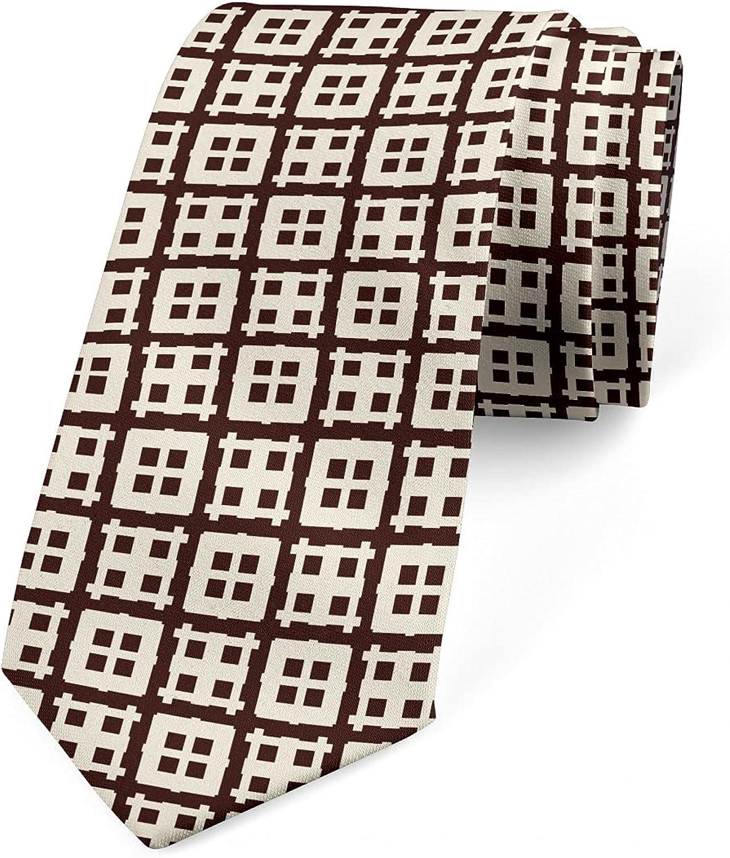 Ambesonne Necktie, Window Look Squares Art, 3.7