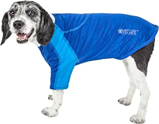 Pet Life ® Active 'Chewitt Wagassy' 4-Way Stretch Performance Long Sleeve Dog T-Shirt, X-Large, Blue