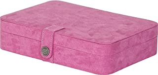 Maria Plush Fabric Jewelry Box with 24-Section in Pink