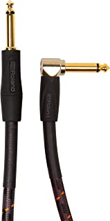 Roland Gold Series Patch/Pedal Cable Straight to Right-Angle 1/4-inch Connectors, 10 ft./3 m - RIC-G10A, Black