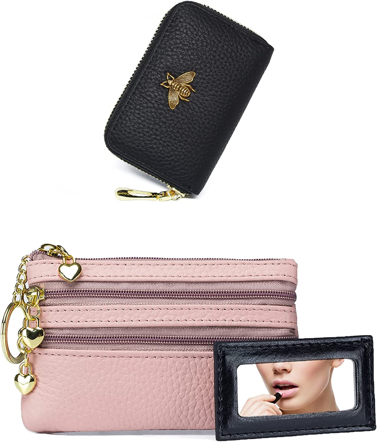 (Bundle of 2 Sets) imeetu Small Credit Card Holder and Coin Pouch Wallet