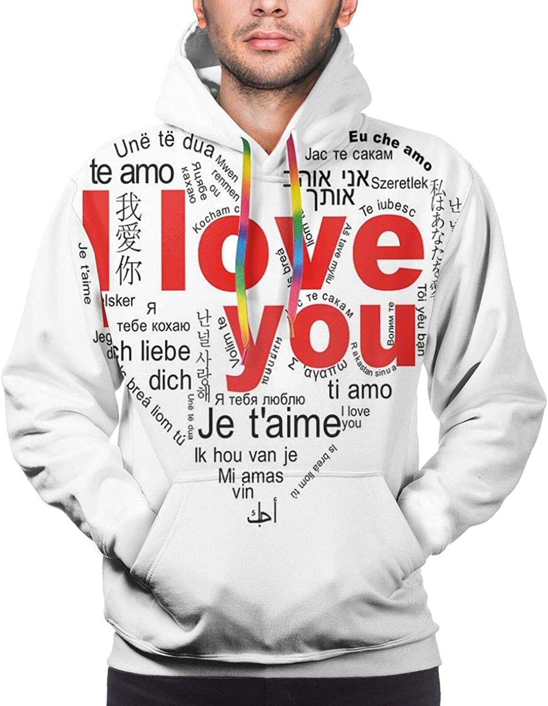 Men's Hoodies Sweatshirts,Expressing Love Affection Good Friendship Text Message Modern Communication Theme