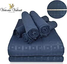 Victoria Valenti Embossed Sheet Set with 4 Pillow Cases (Two in The Twin Size), Double Brushed and Ultra Soft with Deep Pockets for Extra Deep Mattress, Microfiber, Hypoallergenic Split King Blue