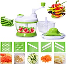 Neloodony Vegetable Slicer,Vegetable Chopper 5-Blade Vegetable Spiralizer Hand Crank Stainless Steel Fruit Vegetable Dicer Cutter Multi-Functional Cooking Slicer