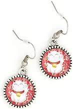 Japanese Lucky Cat Earrings Silver Tone EK34 Maneki Neko Good Luck Charm Dangle Earrings Fashion Jewelry