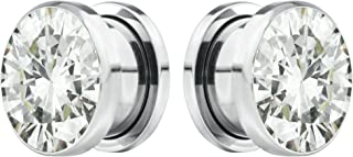 Forbidden Body Jewelry 8G-7/8 Surgical Steel Screw Fit CZ Center Tunnel Plug Earrings (Sold as Pair)