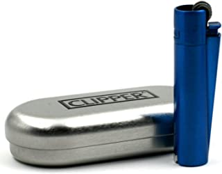 CLIPPER Metal Lighter, Icy-Blue Chrome, With Silver Case