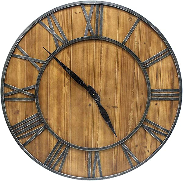 YIDIE 24 Inch Wooden Large Wall Clock Silent Non Ticking Arabic Numerals Round Decorative Clock For Home Living Room